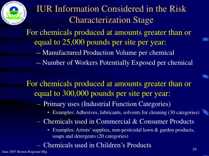 IUR Information Considered in the Risk Characterization Stage