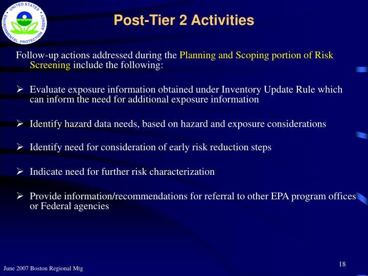 Post-Tier 2 Activities