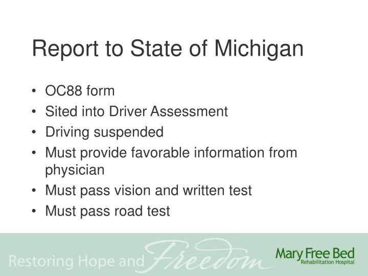Report to State of Michigan