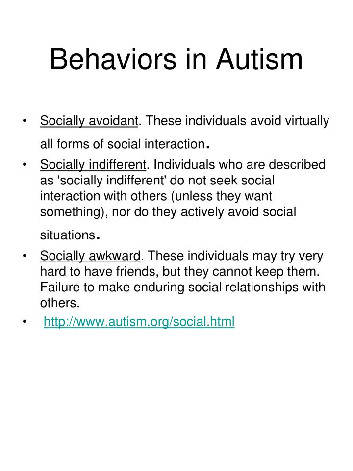 Behaviors in Autism