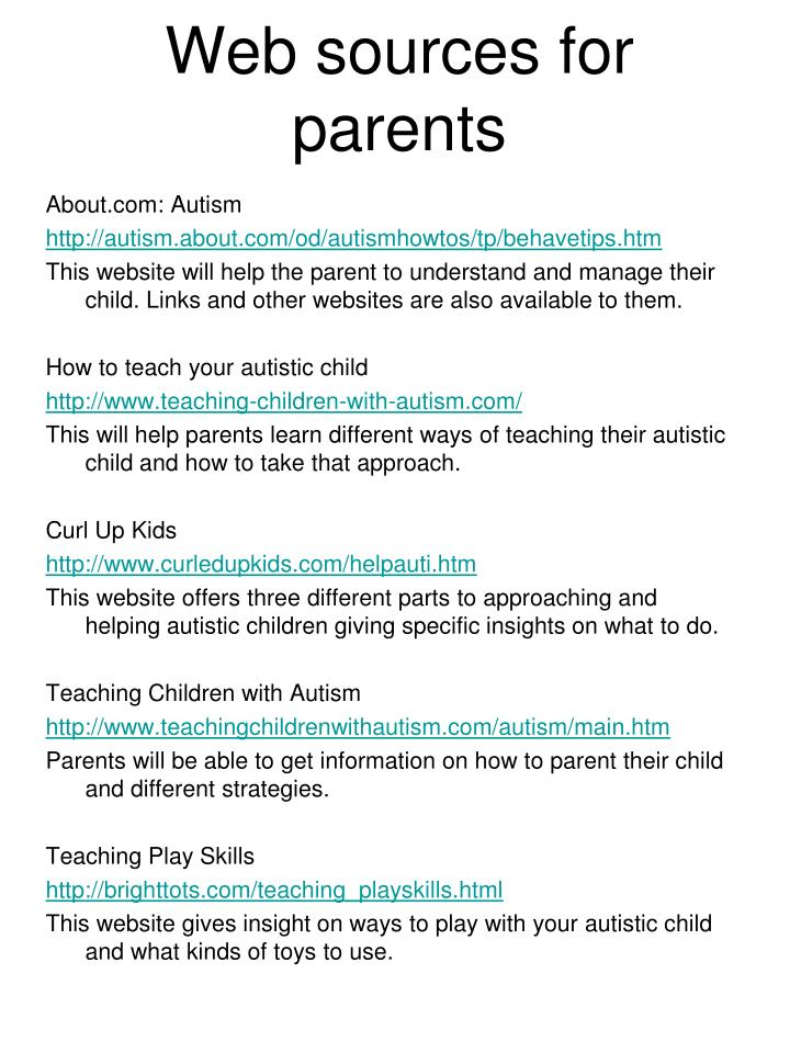 Web sources for parents