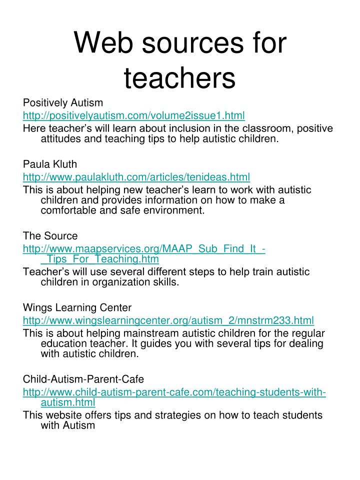 Web sources for teachers