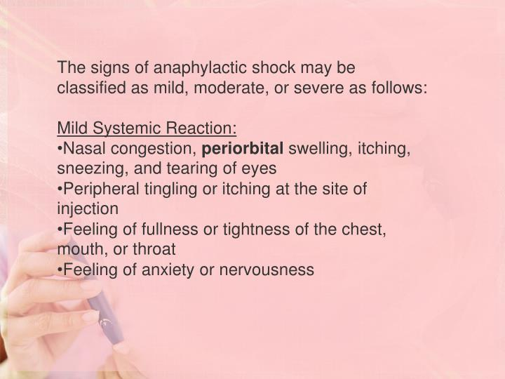The signs of anaphylactic shock may be classified as mild, moderate, or severe as follows:
