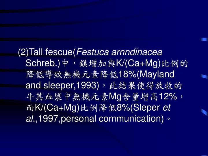(2)Tall fescue(