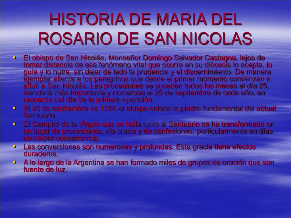 HISTORIA DE MARIA DEL ROSARIO DE SAN NICOLAS