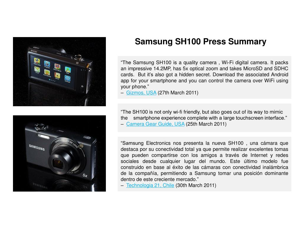 Samsung SH100 Press Summary