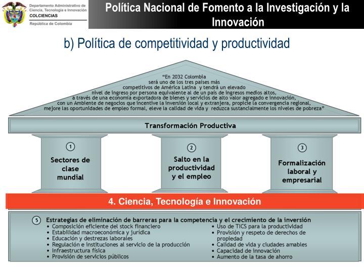 b) Política de competitividad y productividad