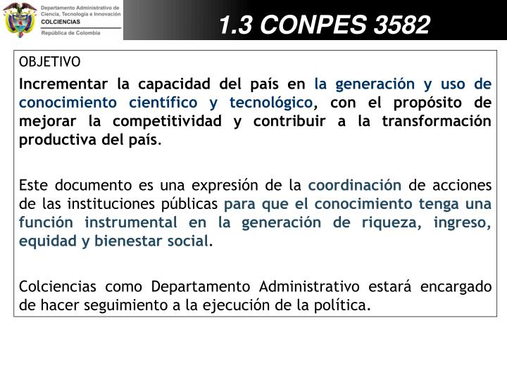 1.3 CONPES 3582