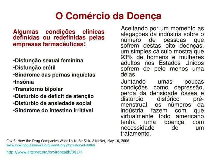 Algumas condições clínicas definidas ou redefinidas pelas empresas farmacêuticas