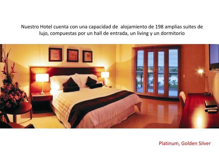 Nuestro Hotel cuenta con una capacidad de  alojamiento de 198 amplias suites de lujo, compuestas por un hall de entrada, un living y un dormitorio
