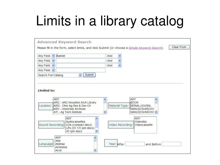 Limits in a library catalog