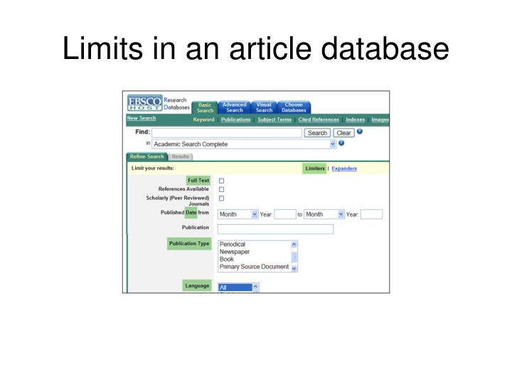 Limits in an article database