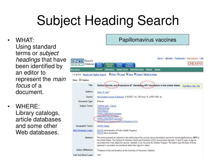 Subject Heading Search