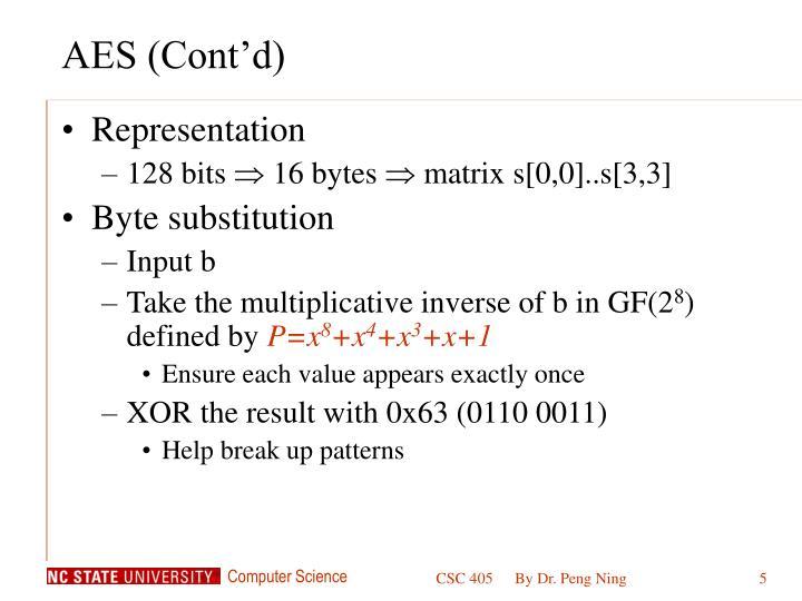 AES (Cont'd)