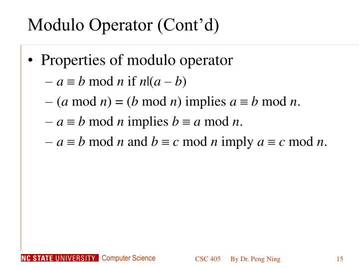 Modulo Operator (Cont'd)