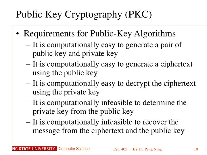 Public Key Cryptography (PKC)