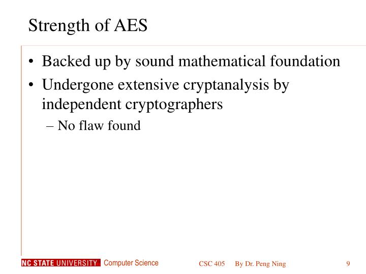 Strength of AES