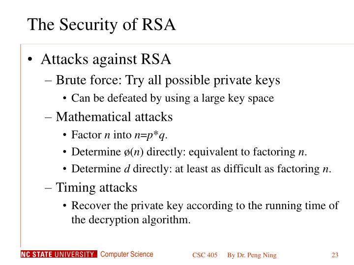 The Security of RSA