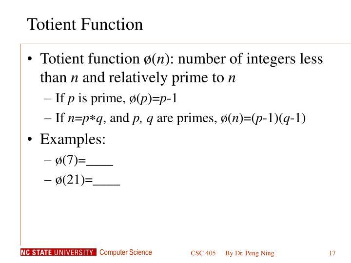 Totient Function