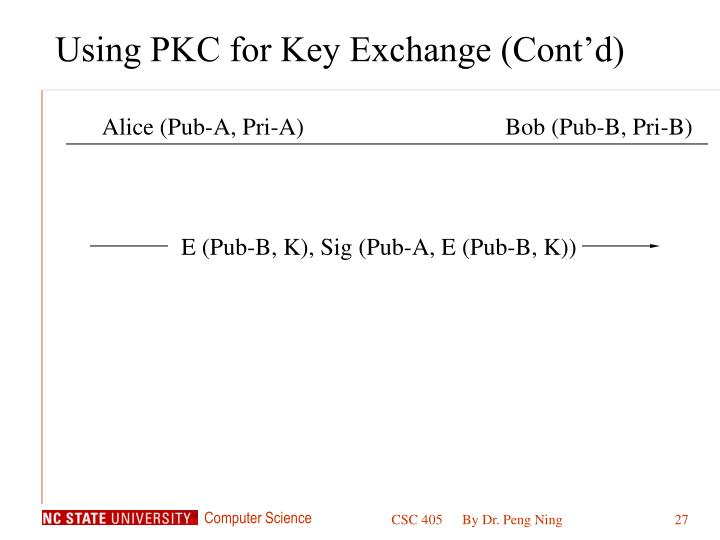 Using PKC for Key Exchange (Cont'd)