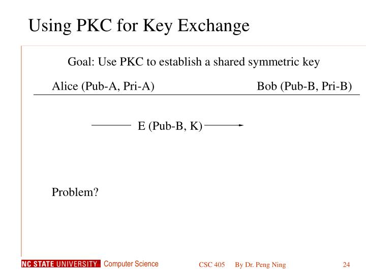 Using PKC for Key Exchange