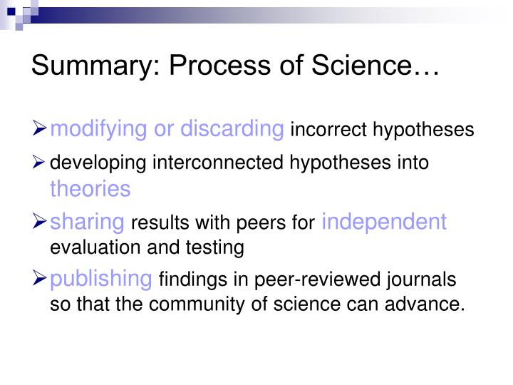Summary: Process of Science…