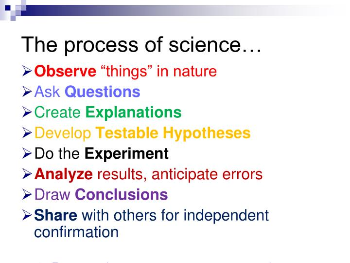 The process of science…