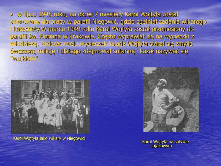 Karol Wojtyła jako wikary w Niegowici