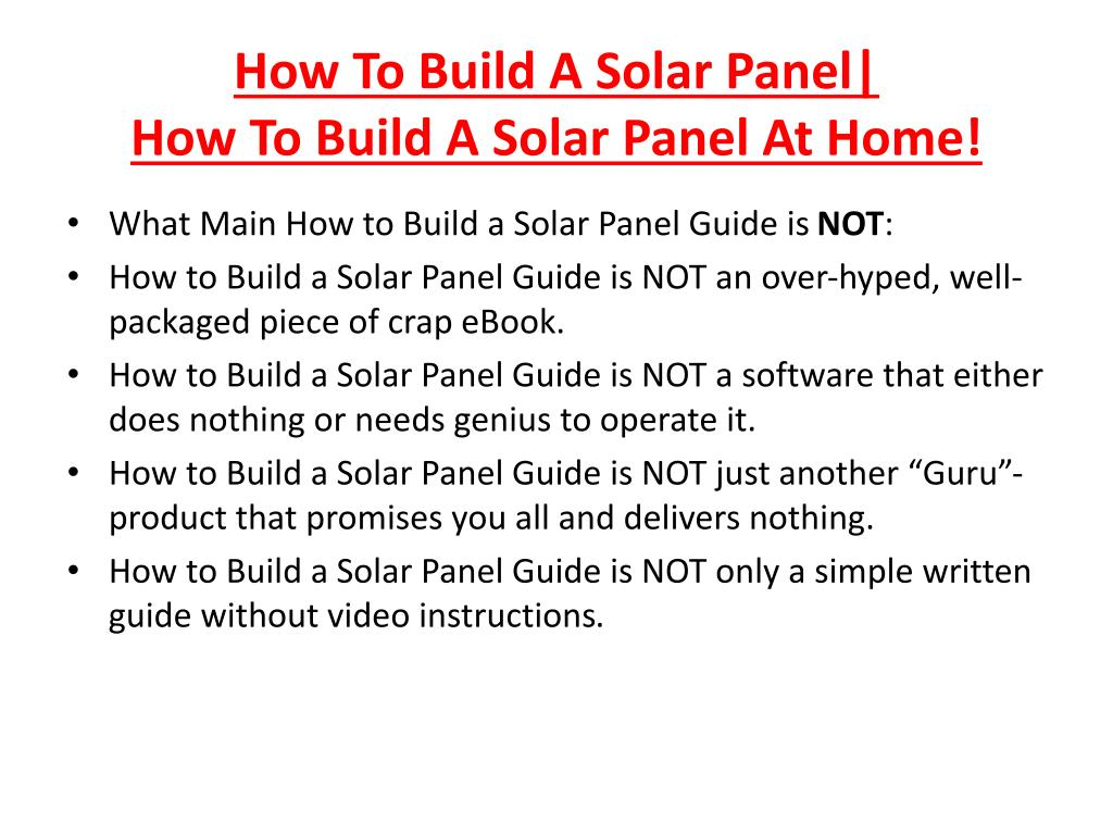 How To Build A Solar Panel|