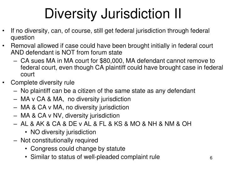 Diversity Jurisdiction II
