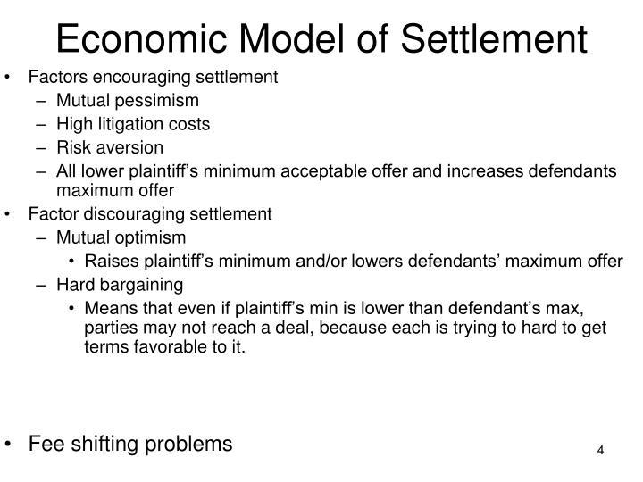 Economic Model of Settlement