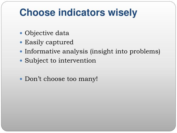 Choose indicators wisely
