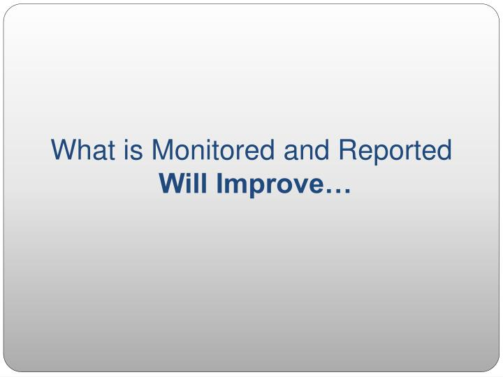 What is Monitored and Reported