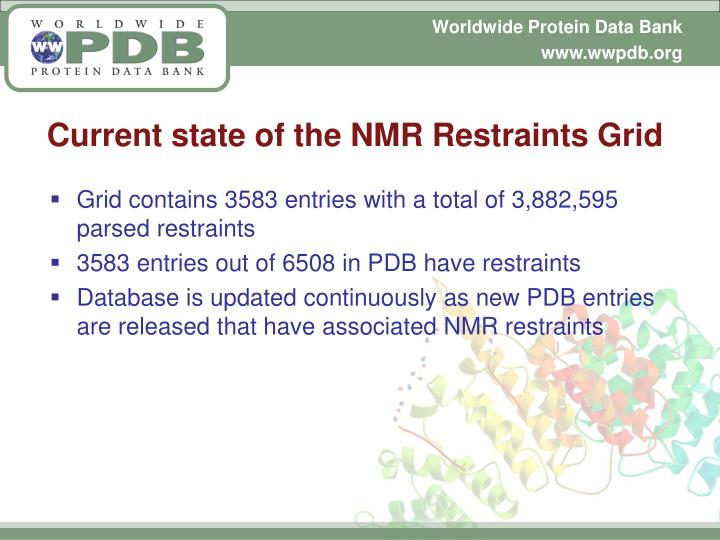Current state of the NMR Restraints Grid
