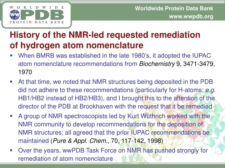 History of the NMR-led requested remediation of hydrogen atom nomenclature