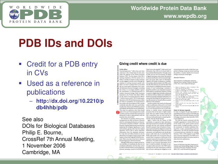 PDB IDs and DOIs