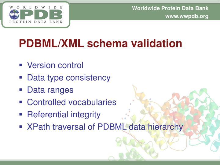 PDBML/XML schema validation