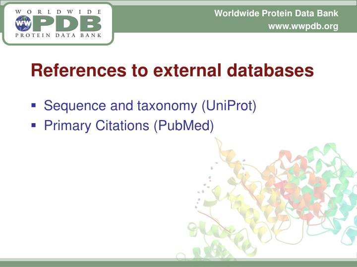 References to external databases