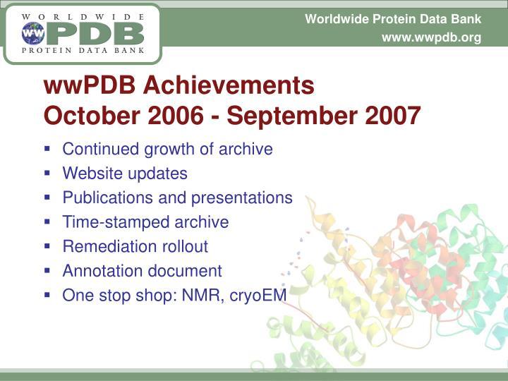 wwPDB Achievements