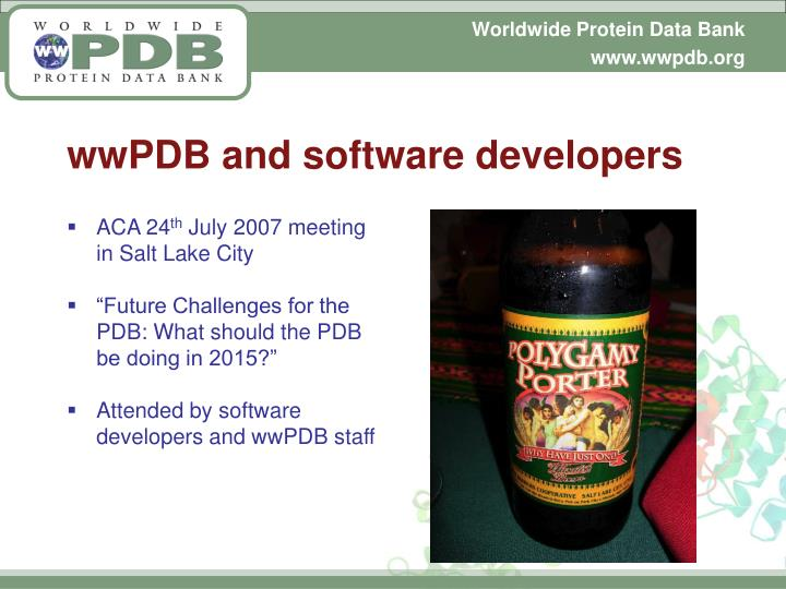 wwPDB and software developers