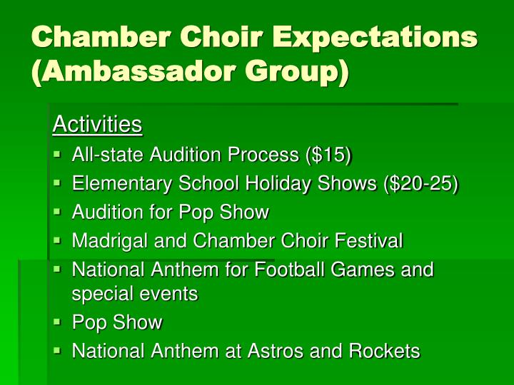 Chamber Choir Expectations