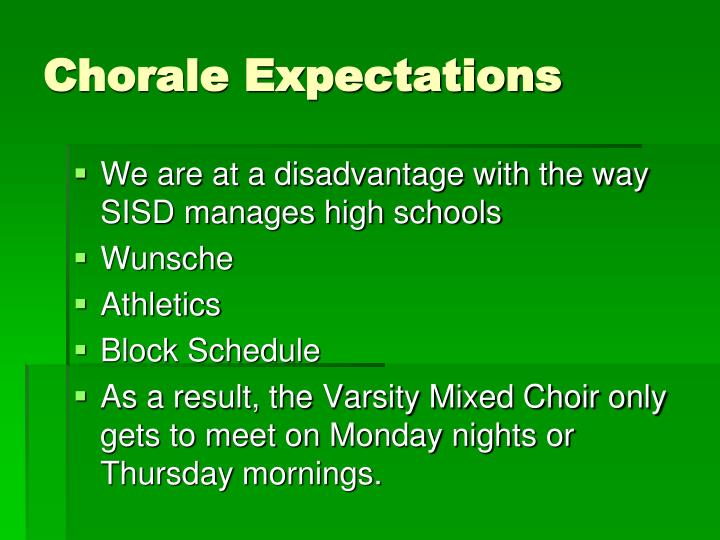 Chorale Expectations
