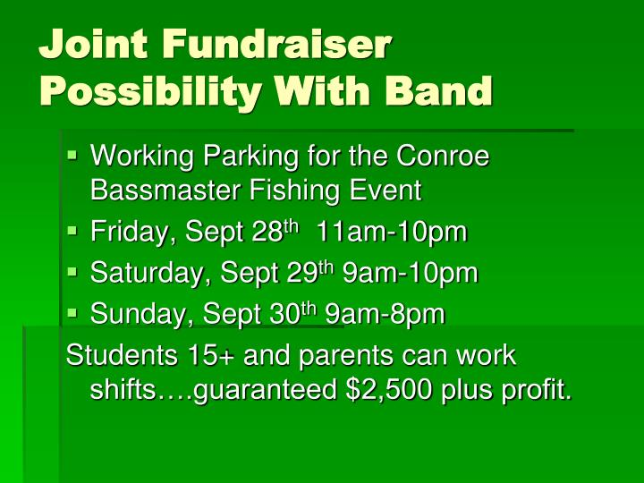 Joint Fundraiser Possibility With Band