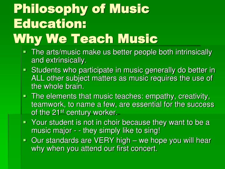 Philosophy of Music Education: