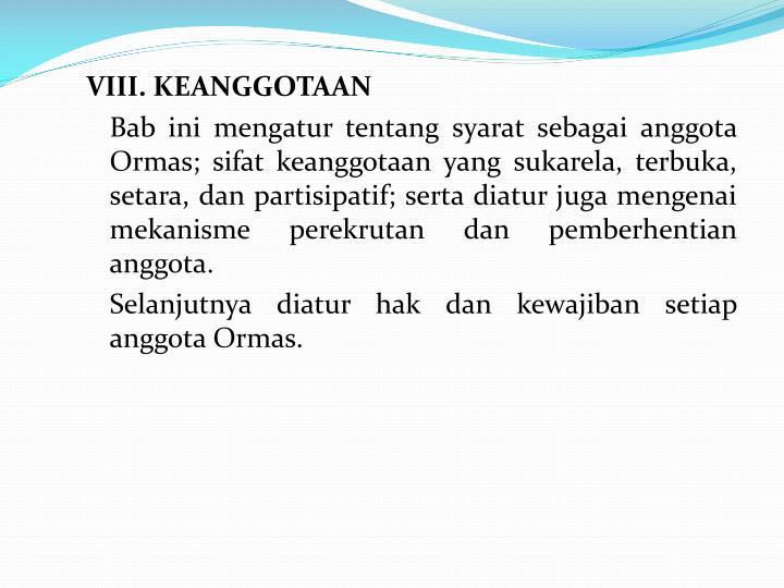 VIII. KEANGGOTAAN