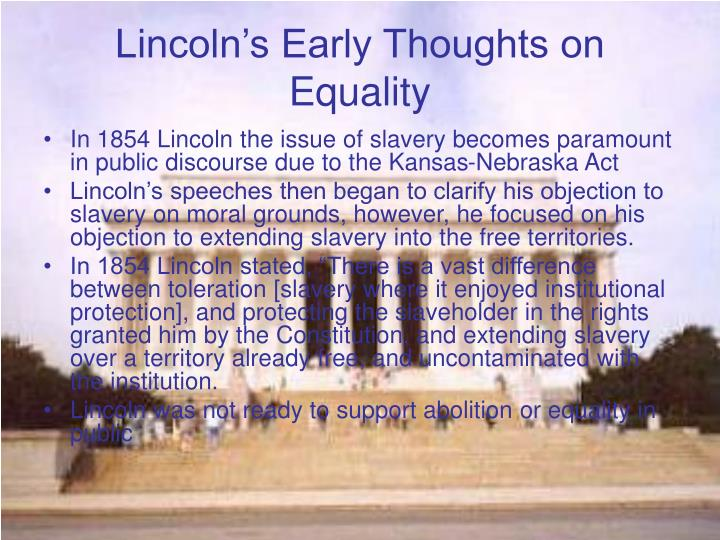 Lincoln's Early Thoughts on Equality
