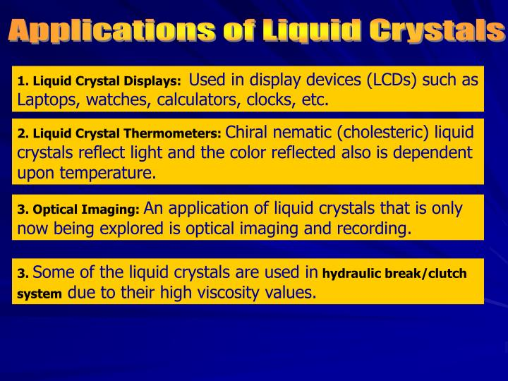 Applications of Liquid Crystals