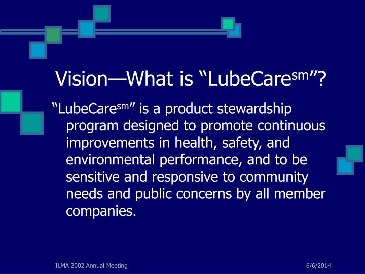 "Vision—What is ""LubeCare"