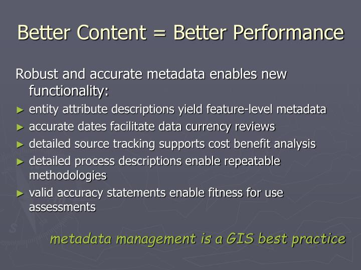 Better Content = Better Performance
