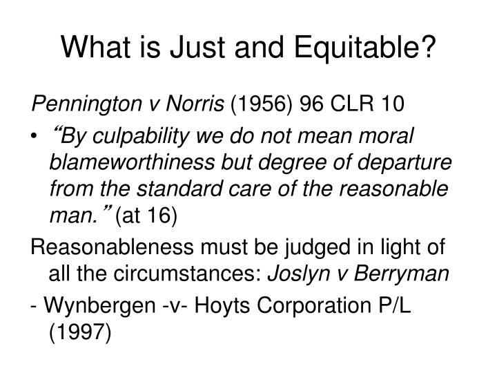 What is Just and Equitable?